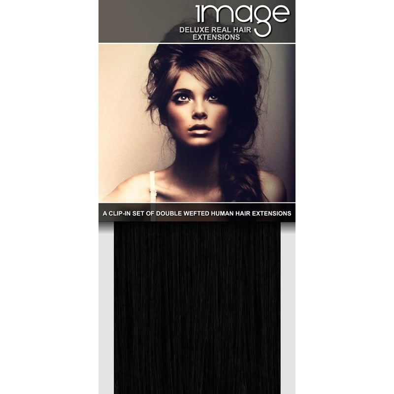 "16"" Clip in Double Wefted Human Hair Extensions - #1 Pure Black"