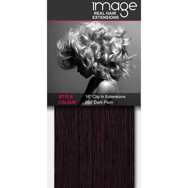 "16"" Clip in Human Hair Extensions - #99J Dark Plum"