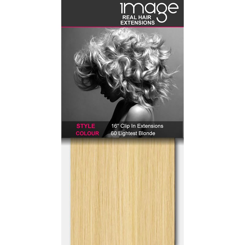 """16"""" Clip in Human Hair Extensions - #60 Lightest Blonde"""