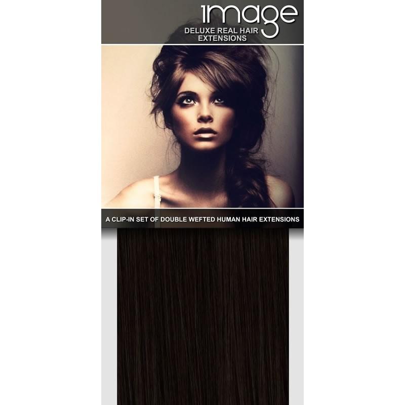 """20"""" deluxe clip in darkest brown extensions"""
