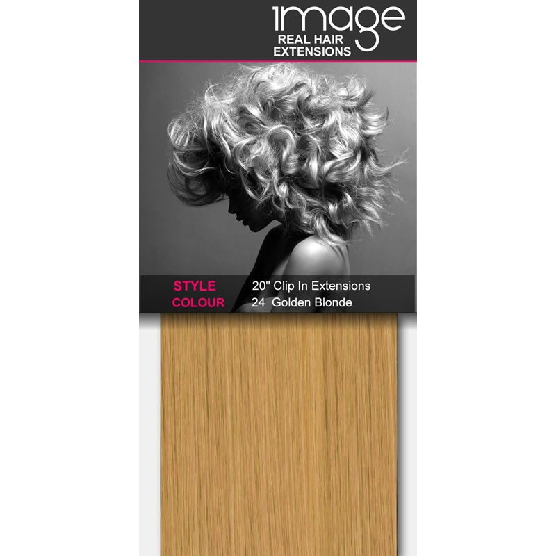 """20"""" Clip in Human Hair Extensions - #24 Golden Blonde"""