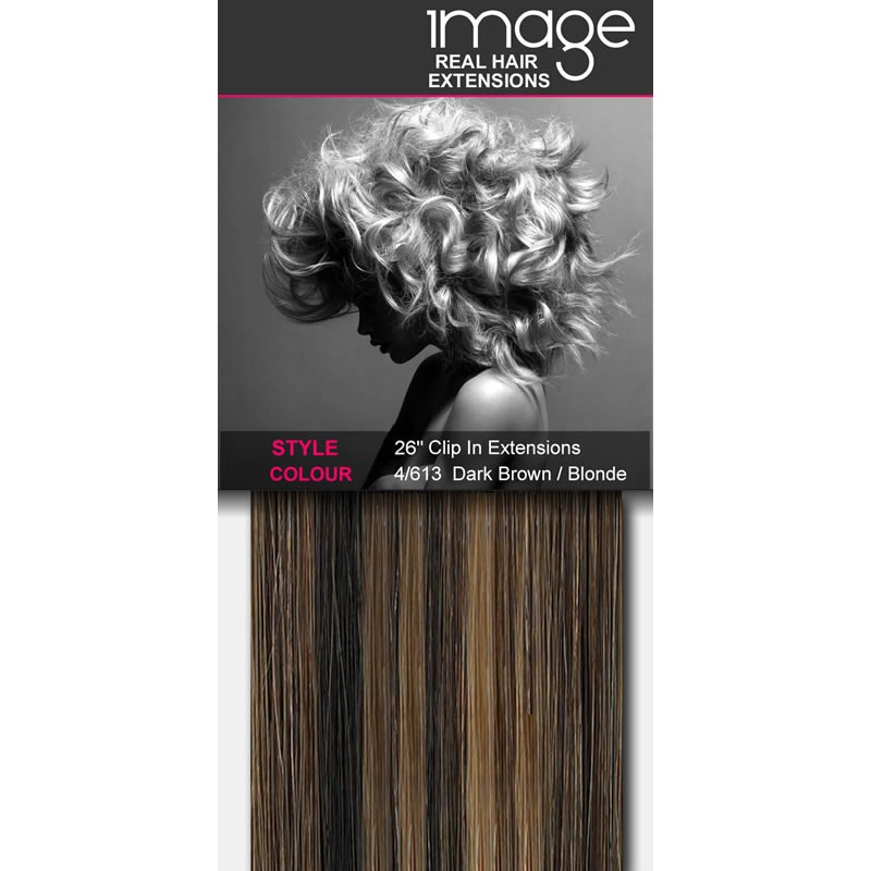 "26"" Clip in Human Hair Extensions - #4/613 Dark Brown / Blonde"