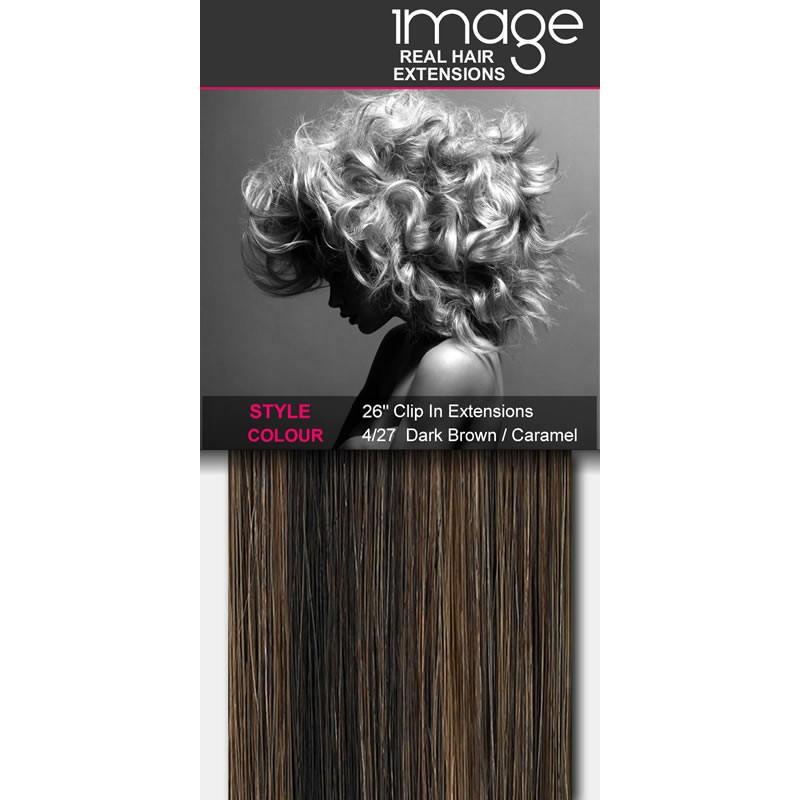 "26"" Clip in Human Hair Extensions - #4/27 Dark Brown / Caramel"