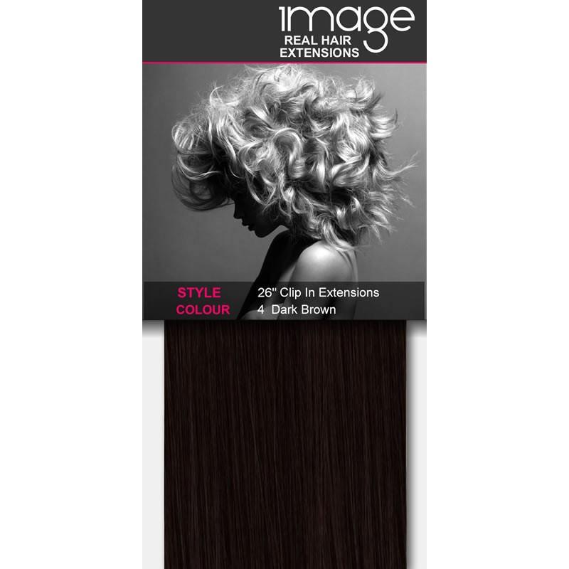 "26"" Clip in Human Hair Extensions - #4 Dark Brown"