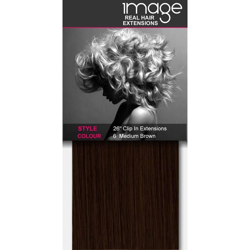 "26"" Clip in Human Hair Extensions - #6 Medium Brown"