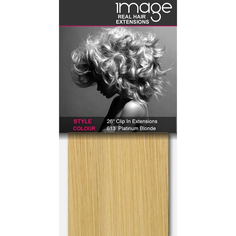"26"" Clip in Human Hair Extensions - #613 Platinum Blonde"