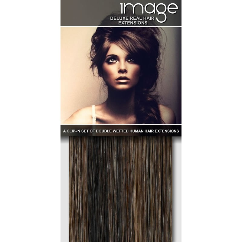 16 Deluxe Clip In Human Hair Extensions 427 Dark Brown Caramel