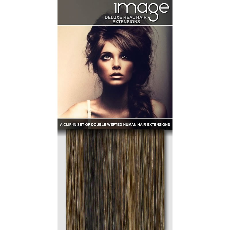16 Deluxe Clip In Human Hair Extensions 627 Med Brown Caramel