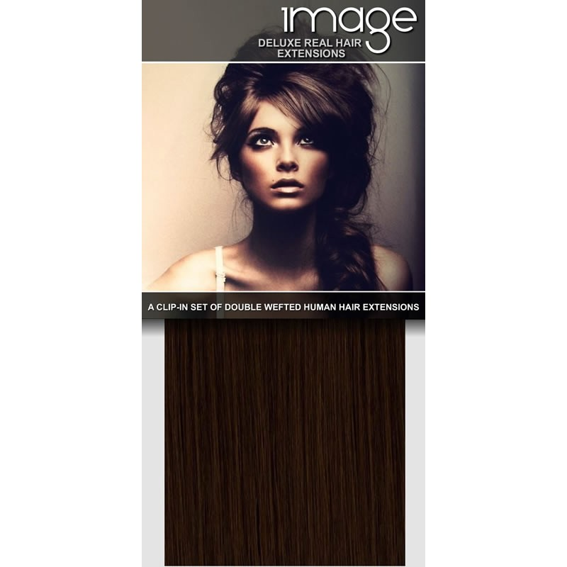 "16"" DELUXE Clip in Human Hair Extensions - #6 medium brown"