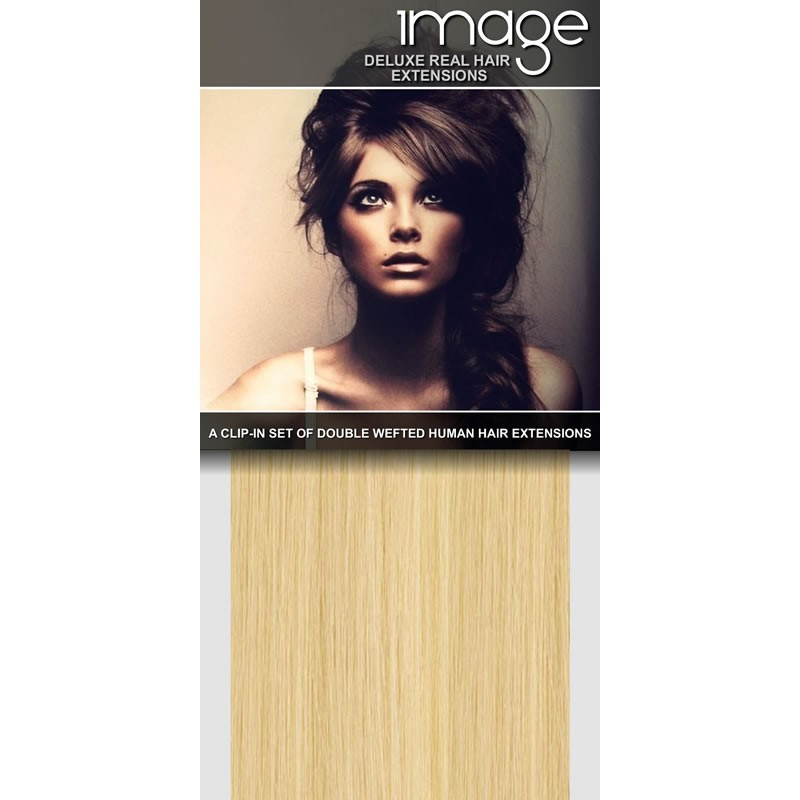 """16"""" DELUXE Clip in Human Hair Extensions - #60 Lightest Blonde"""