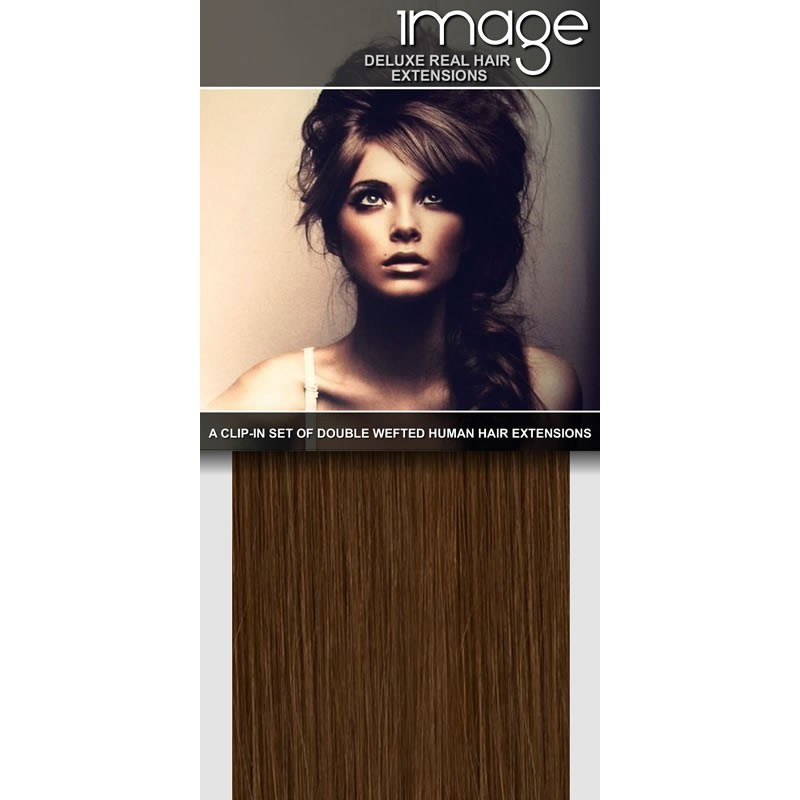 "16"" DELUXE Clip in Human Hair Extensions - #8 Light Brown"