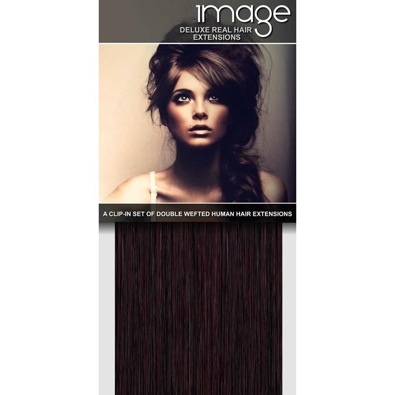 "16"" DELUXE Clip in Human Hair Extensions - #99J Dark Plum"