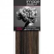 "16"" Clip in Human Hair Extensions - #4/27 Dark Brown / Caramel"