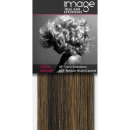 """26"""" Clip in Human Hair Extensions - #6/27 Med Brown / Caramel"""